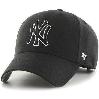 Gorra curva negra snapback con logo negro de New York Yankees MLB MVP de 47 Brand