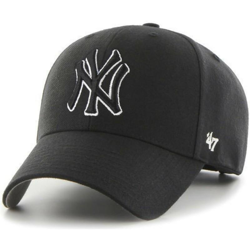 Gorra curva negra snapback con logo negro de New York Yankees MLB ... d362fb982d7