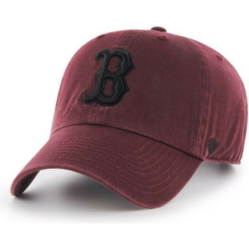 gorra-curva-granate-con-logo-negro-de-boston-red-sox-mlb-clean-up-de-47-brand