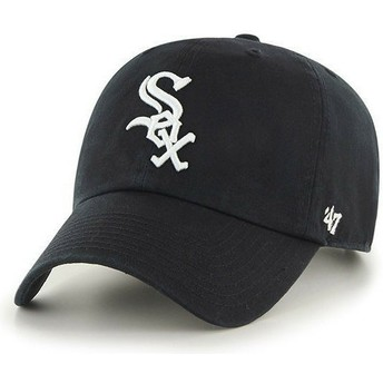 Gorra curva negra de Chicago White Sox MLB Clean Up de 47 Brand