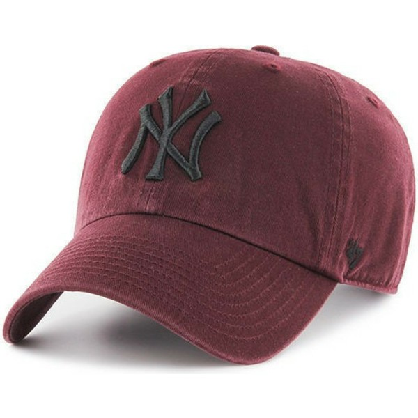 gorra-curva-granate-con-logo-negro-de-new-york-yankees-mlb-clean-up-de-47-brand