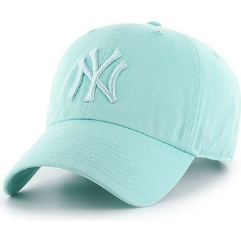 Gorra curva verde claro con logo verde claro de New York Yankees MLB Clean Up de 47 Brand