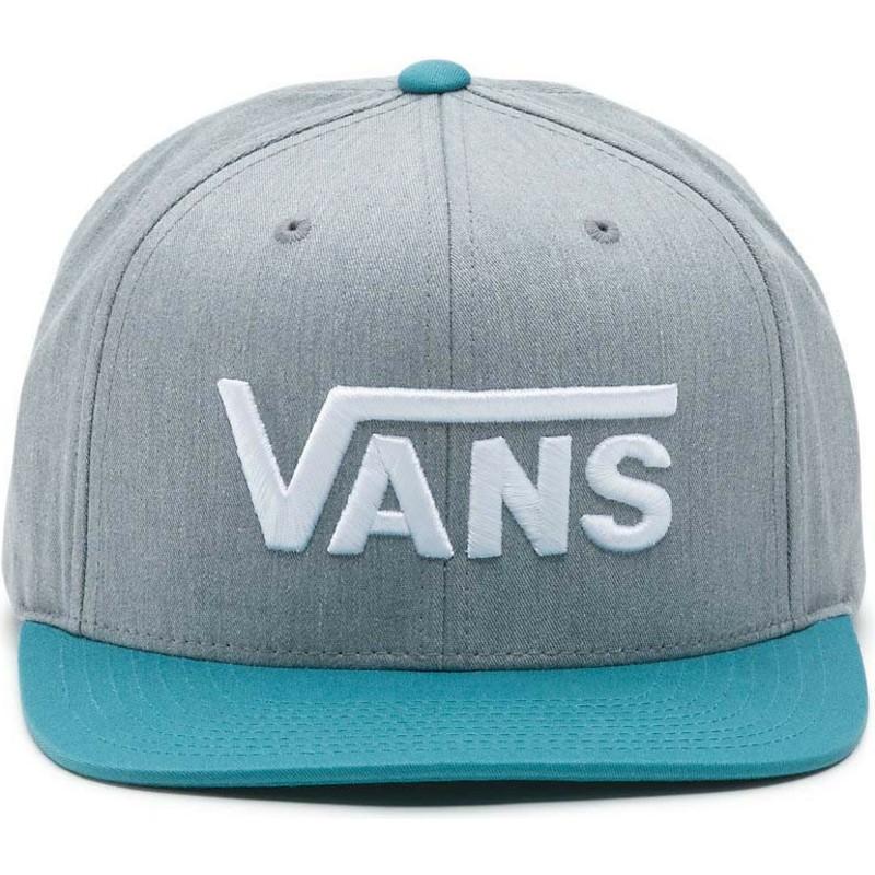 Gorra plana gris snapback con visera azul y con logo letras Drop V ... f9de3ae2f4a