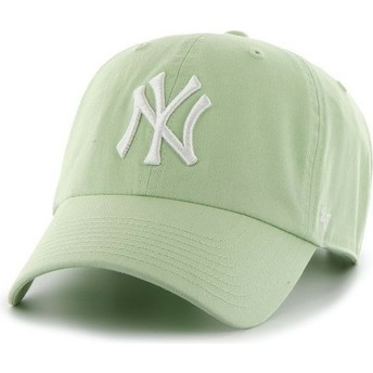 Gorra curva verde claro con logo blanco de New York Yankees MLB Clean Up de 47 Brand