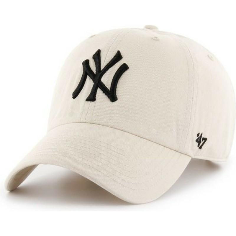 Gorra curva crema de New York Yankees MLB Clean Up de 47 Brand ...
