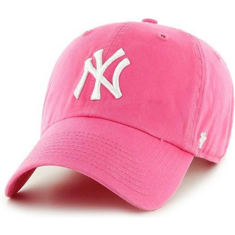 Gorra curva rosa de New York Yankees MLB Clean Up de 47 Brand ... ad28e492361