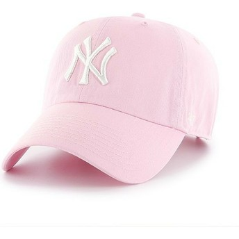 Gorra curva rosa claro de New York Yankees MLB Clean Up de 47 Brand