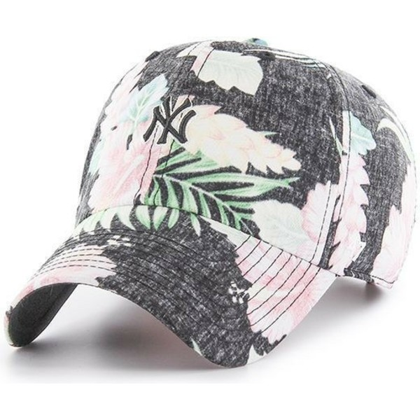 gorra-curva-gris-con-estampado-floral-de-new-york-yankees-mlb-stigma-mini-clean-up-de-47-brand
