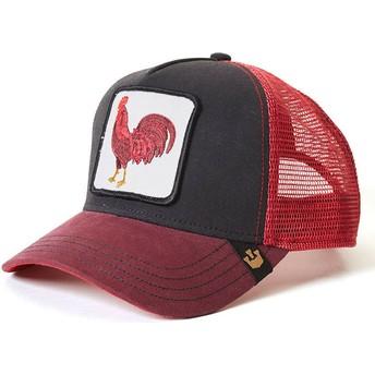 Gorra trucker roja y negra gallo Barnyard King de Goorin Bros.