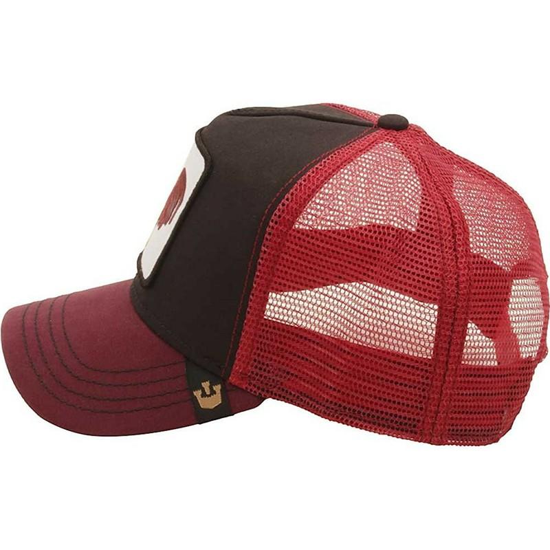 Gorra trucker roja y negra gallo Barnyard King de Goorin Bros ... 7a6987248f0