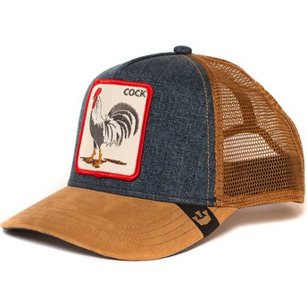 Gorra trucker marrón y denim gallo Big Strut de Goorin Bros.