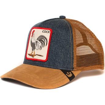 Gorra trucker marrón y denim gallo Big Strut de Goorin Bros.
