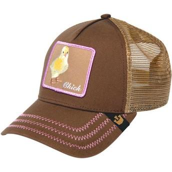 Gorra trucker marrón pollito Chicky Boom de Goorin Bros.