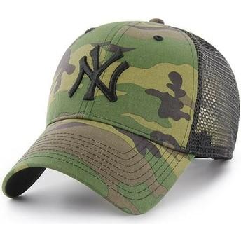 Gorra trucker camuflaje con logo negro de New York Yankees MLB Branson MVP de 47 Brand