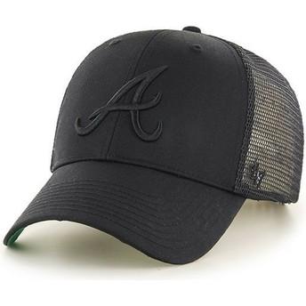 Gorra trucker negra con logo negro de Atlanta Braves MLB MVP Branson de 47 Brand