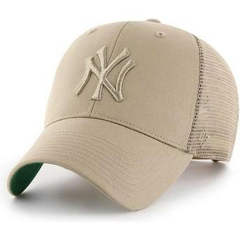 Gorra trucker beige con logo beige de New York Yankees MLB MVP Branson de 47 Brand