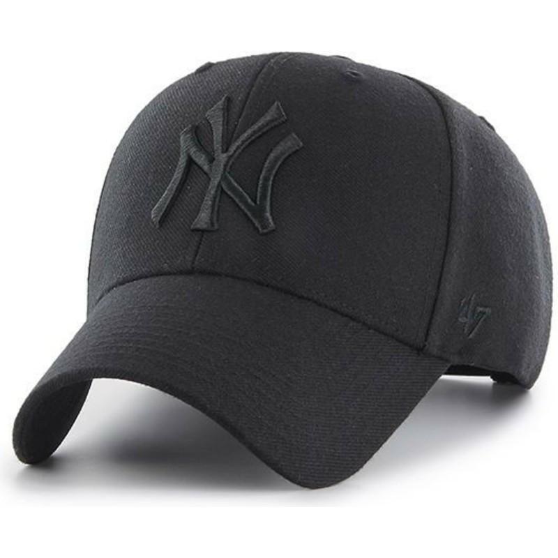 Gorra curva negra snapback con logo negro de New York Yankees MLB MVP de 47 Brand qpzuSt7PYI