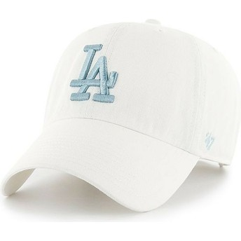 Gorra curva blanca con logo azul de Los Angeles Dodgers MLB Clean Up de 47 Brand