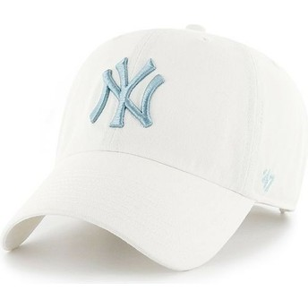 Gorra curva blanca con logo azul de New York Yankees MLB Clean Up de 47 Brand