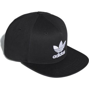 Gorra plana negra snapback Trefoil de Adidas