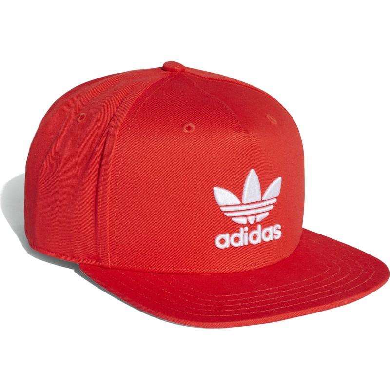 Gorra plana roja snapback Trefoil de Adidas  comprar online en ... a03e4b43032