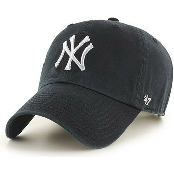 Gorra curva negra con logo plata de New York Yankees MLB Clean Up Metallic de 47 Brand
