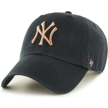 Gorra curva negra con logo bronce de New York Yankees MLB Clean Up Metallic de 47 Brand