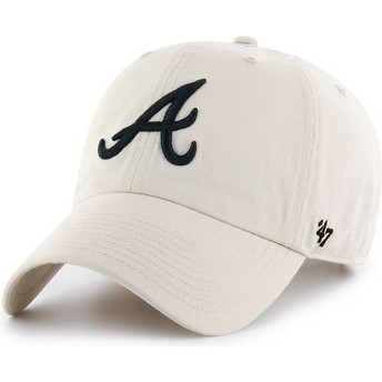Gorra curva crema Atlanta Braves MLB Clean Up de 47 Brand