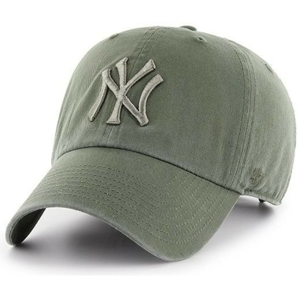 gorra-curva-verde-claro-con-logo-verde-de-new-york-yankees-mlb-clean-up-de-47-brand