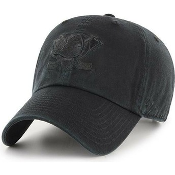 Gorra curva negra con logo negro de Anaheim Ducks NHL Clean Up de 47 Brand