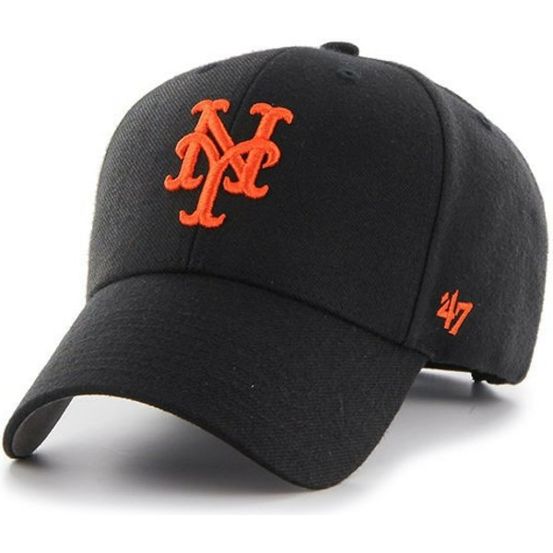 887f188cfa5c5 Gorra curva negra con logo naranja de New York Mets MLB MVP de 47 ...