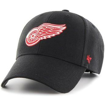 Gorra curva negra con logo rojo de Detroit Red Wings NHL MVP de 47 Brand