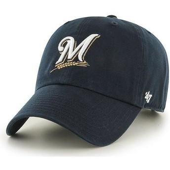 Gorra curva azul marino de Milwaukee Brewers MLB Clean Up de 47 Brand
