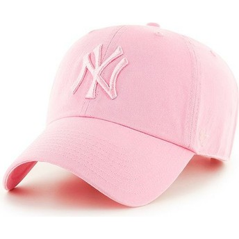 Gorra curva rosa con logo rosa de New York Yankees MLB Clean Up de 47 Brand