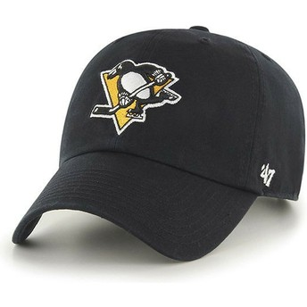 Gorra curva negra de Pittsburgh Penguins NHL Clean Up de 47 Brand