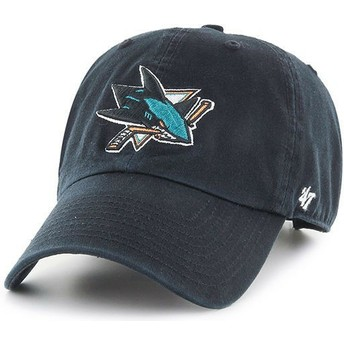 Gorra curva negra de San Jose Sharks NHL Clean Up de 47 Brand