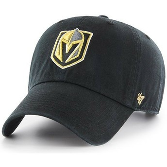 Gorra curva negra de Vegas Golden Knights NHL Clean Up de 47 Brand
