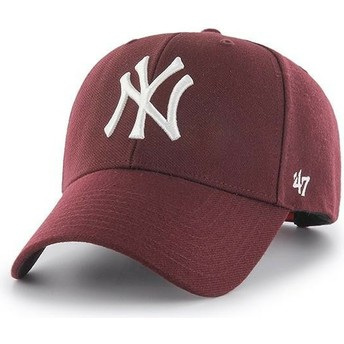 Gorra curva granate con logo blanco snapback de New York Yankees MLB MVP de 47 Brand