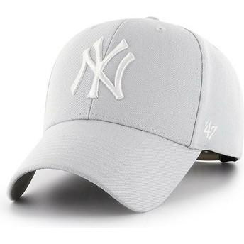 Gorra curva gris plata snapback de New York Yankees MLB MVP de 47 Brand
