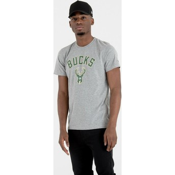 Camiseta de manga corta gris de Milwaukee Bucks NBA de New Era