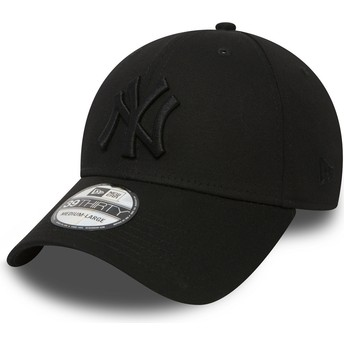 Gorra curva negra con logo negro ajustada 39THIRTY Classic de New York Yankees MLB de New Era