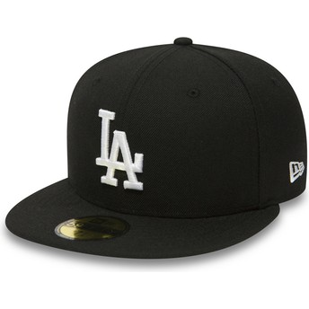 Gorra plana negra ajustada 59FIFTY Essential de Los Angeles Dodgers MLB de New Era