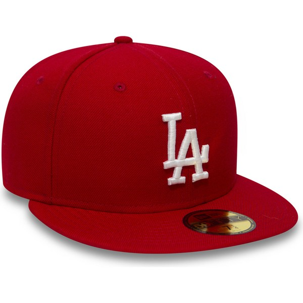 gorra-plana-roja-ajustada-59fifty-essential-de-los-angeles-dodgers-mlb-de-new-era