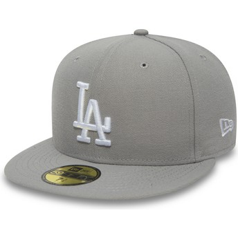 Gorra plana gris ajustada 59FIFTY Essential de Los Angeles Dodgers MLB de New Era