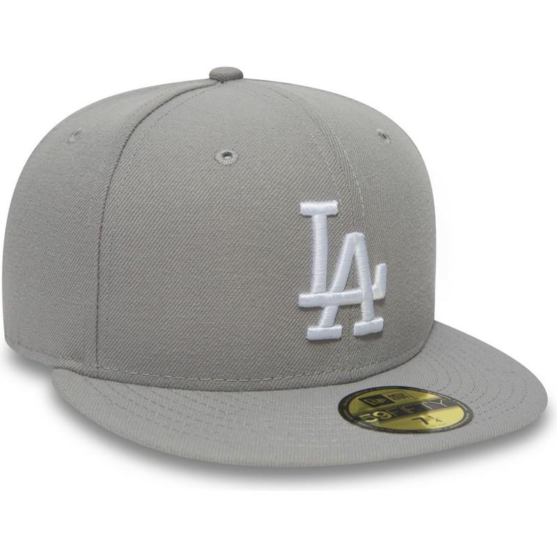 Gorra plana gris ajustada 59FIFTY Essential de Los Angeles Dodgers ... e0dc7850cc9
