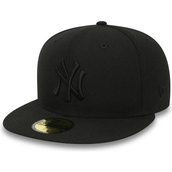 Gorra plana negra ajustada 59FIFTY Black on Black de New York Yankees MLB de New Era