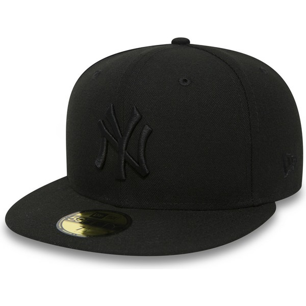 Gorra plana negra ajustada 59FIFTY Black on Black de New York ... fac7e292139