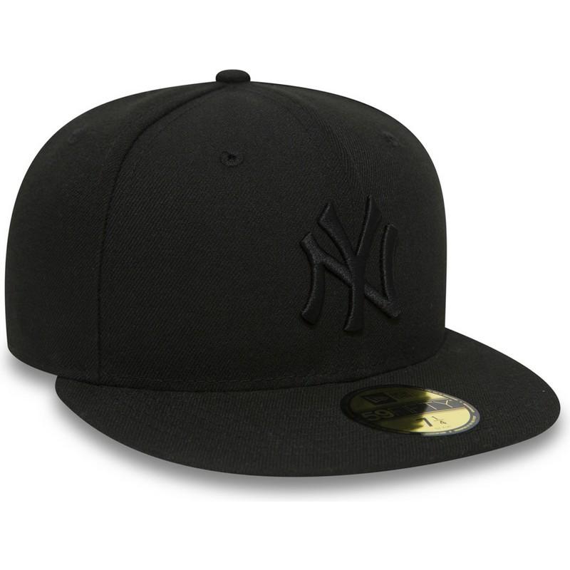 Gorra plana negra ajustada 59FIFTY Black on Black de New York ... 8a8d9a1a1ab