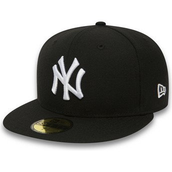 Gorra plana negra ajustada 59FIFTY Essential de New York Yankees MLB de New Era