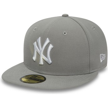 Gorra plana gris ajustada con logo blanco 59FIFTY Essential de New York Yankees MLB de New Era